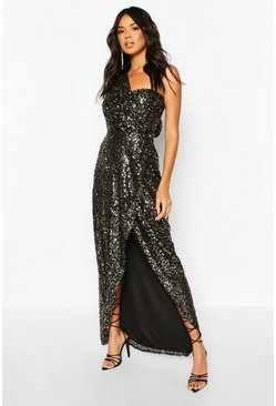 Black Boohoo Occasion Sequin Drape Detail Maxi