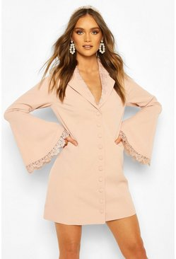 Blush pink Boohoo Occasion Lace Detail Button Blazer Dress