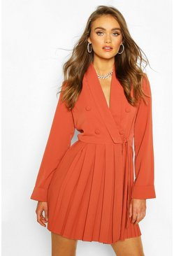 Apricot nude Boohoo Occasion Double Breasted Blazer Dress