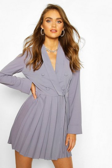 Grey Boohoo Occasion Double Breasted Blazer Dress
