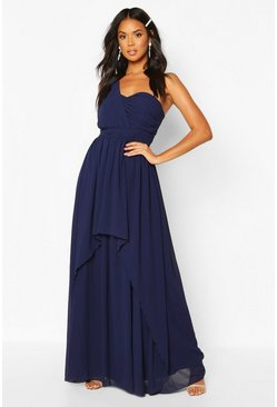 Navy Bridesmaid Occasion One Shoulder Detail Maxi Dress