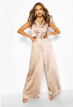 Taupe beige Boohoo Occasion Satin Double Breasted Jumpsuit