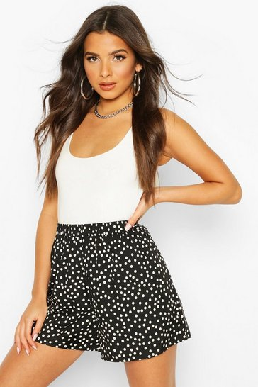 Black Polka Dot Woven Flippy Short