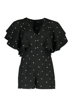 Mocha Mix Scale Polka Dot Ruffle Sleeve Playsuit