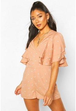 Mocha beige Mix Scale Polka Dot Ruffle Sleeve Playsuit