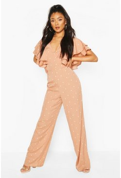 Mocha beige Mix Scale Polka Dot Ruffle Sleeve Jumpsuit