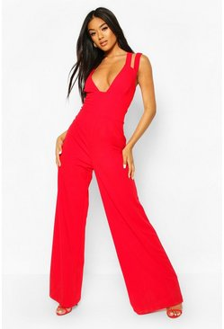 Red Cut Out Strap Plunge Wide Leg Jumpsuit