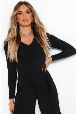 Ribbed Belted Buckle Long Sleeve Jumpsuit, Black nero