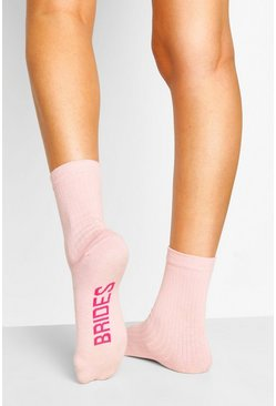 Pink Bridesmaid Ribbed Socks