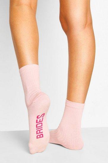 Pink Bridesmaid Ribbed Socks