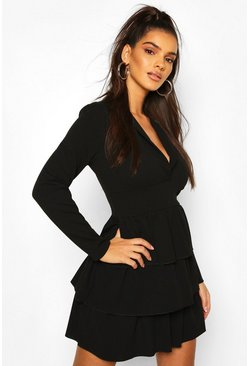 Black Tiered Ruffle Blazer Dress