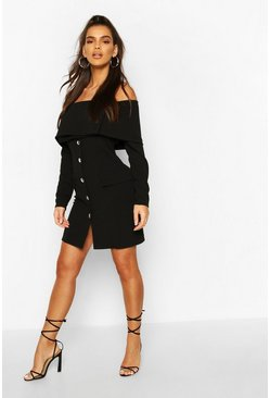Black Off The Shoulder Long Sleeve Pocket Blazer Dress