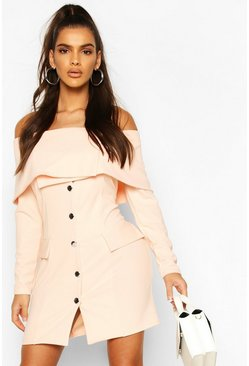 Nude Bardot Long Sleeve Pocket Blazer Dress