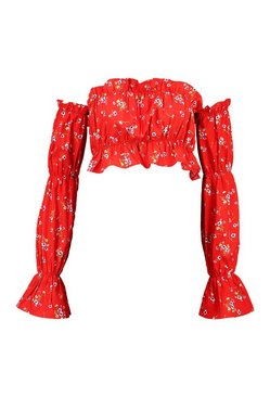 Red Off The Shoulder Floral Long Sleeve Crop Top