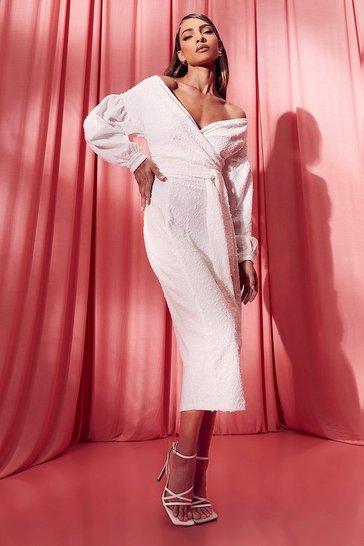 White Bridesmaid Sequin Off The Shoulder Midi Dress