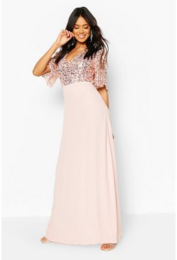 Blush pink Bridesmaid Occasion Sequin Bodice Angel Maxi Dress