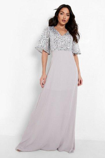 Silver Bridesmaid Occasion Sequin Bodice Angel Maxi Dress