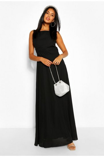 Black Occasion Low Back Maxi Dress