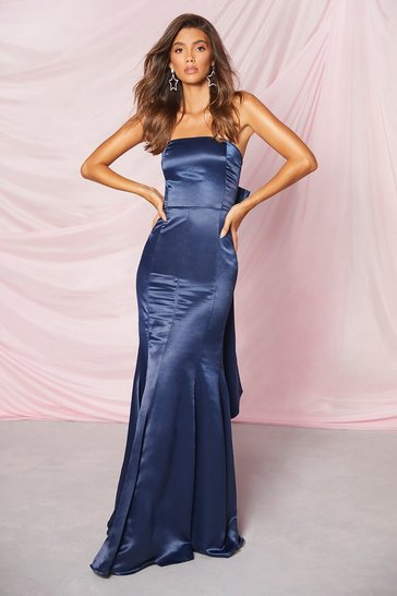 Navy Occasion Satin Bow Back Maxi Dress