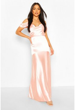 Blush pink Occasion Satin Cowl Peplum Hem Maxi Dress