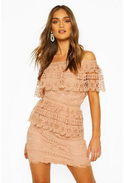 Apricot nude Boohoo Occasion Heavy Lace One Shoulder Mini