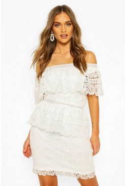 Ivory white Boohoo Occasion Heavy Lace One Shoulder Mini