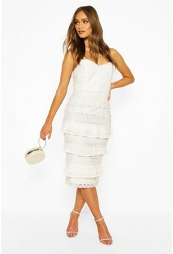 Ivory white Boohoo Occasion Heavy Lace Ruffle Detail Midi