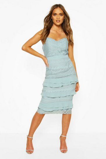 Pastel blue blue Boohoo Occasion Heavy Lace Ruffle Detail Midi