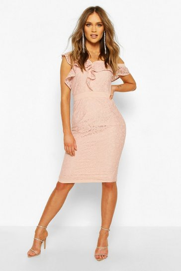 Soft pink pink Occasion Heavy Lace Ruffle One Shoulder Midi