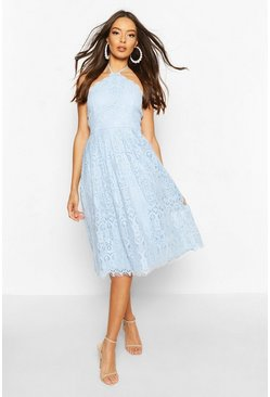 Cornflower blue blue Occasion Lace Full Skater Midi Dress