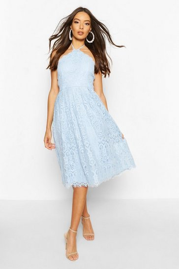 Cornflower blue Occasion Lace Full Skater Midi Dress