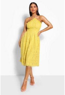 Mustard Occasion Lace Full Skater Midi Dress