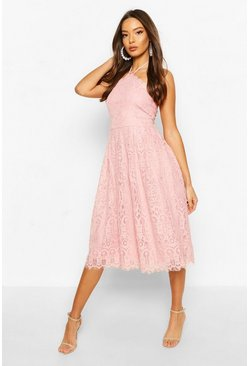 Soft pink pink Occasion Lace Full Skater Midi Dress