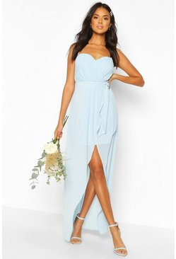 Dusty blue blue Bridesmaid Occasion Bandeau Pleated Maxi Dress
