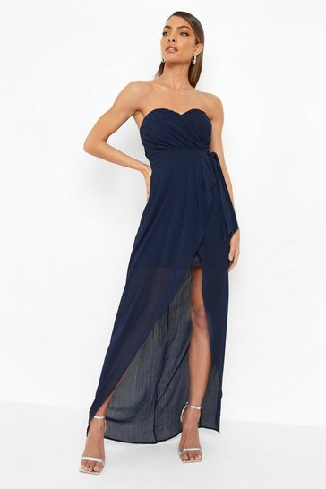 Navy Bridesmaid Occasion Bandeau Pleated Maxi Dress