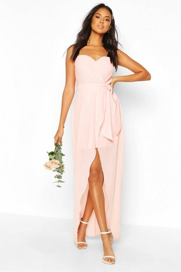 Nude Bridesmaid Occasion Bandeau Pleated Maxi Dress