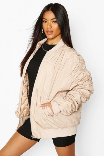 Stone Ruched Detail Bomber Jacket