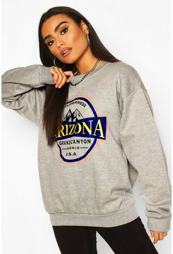 Grey marl grey Arizona Slogan Washed Oversized Sweat