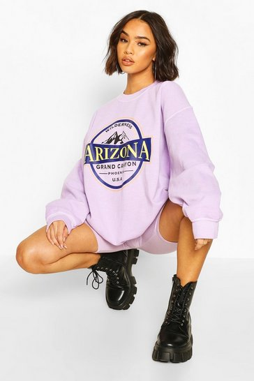 Lilac purple Arizona Slogan Washed Oversized Sweater