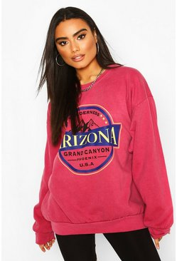 Framboos pink Oversized washed sweater met Arizona-slogan