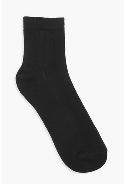 Black Wide Rib Socks