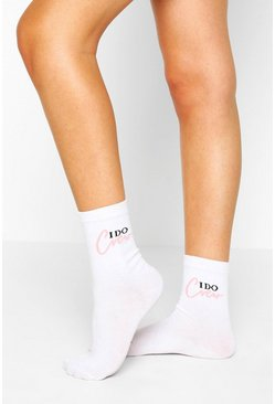 White I Do Crew Slogan Socks