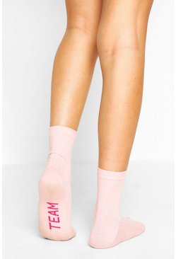 Pink Team Bride Ribbed Socks