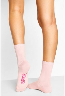 Pink Bride To Be Ribbed Socks