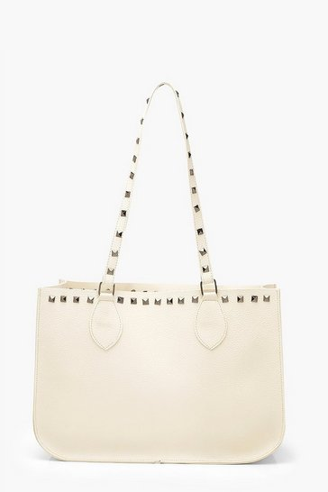 Cream white Stud Detail Tote Bag