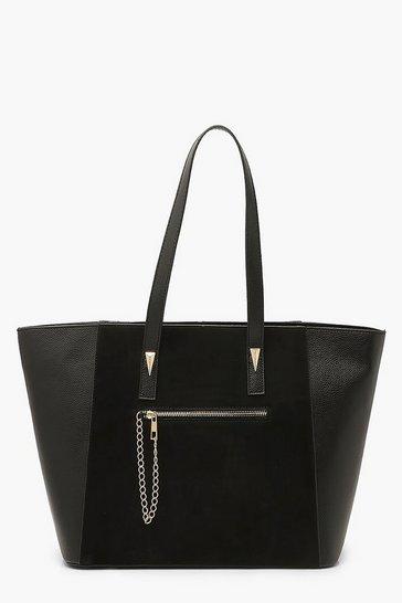 Black Suedette & PU Tote Bag With Chain Trim Detail