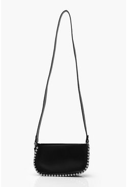 Black Bead Detail PU Cross Body Bag