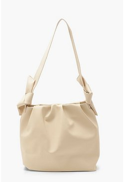 Cream PU Slouch Tote Bag With Knot Detail