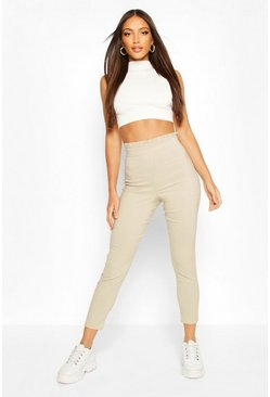 Stone beige Stretch Woven Frill Top Trouser