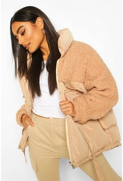 Camel Teddy Panel Puffer Jacket